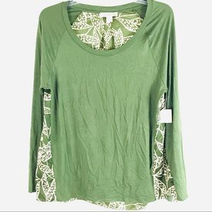 NWT🌟 COLDWATER CREEK Green Dotted Leaves Top 14